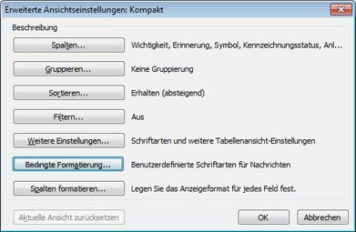 Bedingte Formatierung Outlook