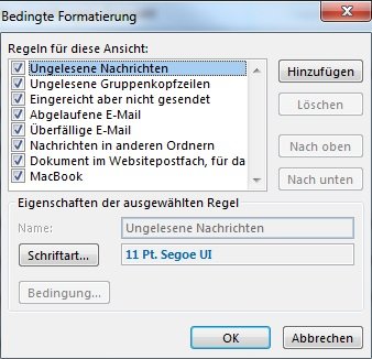 Bedingte Formatierung in Outlook
