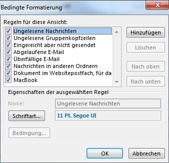 Bedingte Formatierung in Outlook