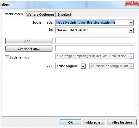 Outlook bedingte Formatierung Kriterium festlegen