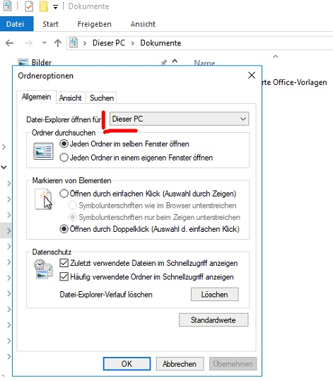 Standardeinstellung für Windows Explorer Start anpassen