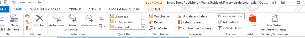 Outlook Rbbon leiste