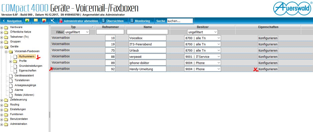 Voicemailbox auerswald konfigurieren